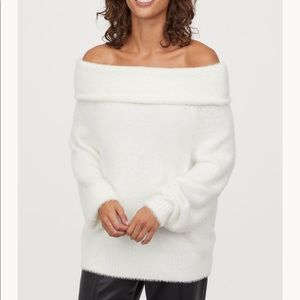 H&M fuzzy white off the shoulder sweater
